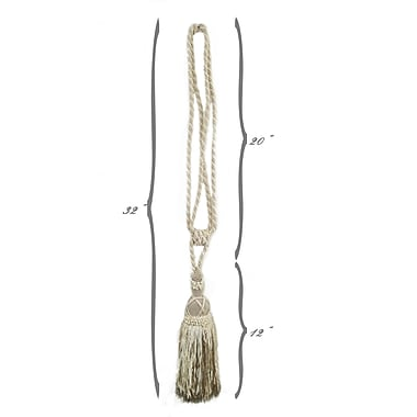 EuropaTex Carriage House Tassel Curtain Tieback; Natural