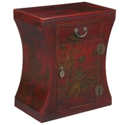 EXP D cor Handmade Oriental Antique Style Red Bonded Leather Hourglass End Table