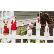 Evergreen Flag & Garden Animal Fence Post Perchers Christmas Decoration (Set of 6)