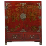 EXP D cor Handmade Oriental Antique Style Traditional Heirloom Red Bonded Leather Storage Cabinet