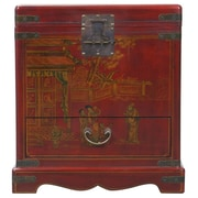 EXP D cor Handmade Oriental Antique Style Red Bonded Leather End Table / Storage Chest