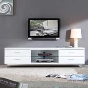 B-Modern Promoter TV Stand; White High Gloss and Brushed Stainless Steel
