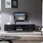 B-Modern Promoter TV Stand; Black Oak and Polished Stainless Steel