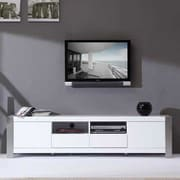 B-Modern Composer TV Stand; White High Gloss and Brushed Stainless Steel