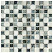EliteTile Interval 0.88'' x 0.88'' Ceramic and Glass Mosaic Wall Tile in Azure White And Black Mix