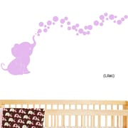 DecaltheWalls Elephant Bubbles Nursery Room Removable Wall Decal; Lilac
