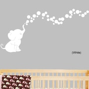 DecaltheWalls Elephant Bubbles Nursery Room Removable Wall Decal; White