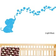 DecaltheWalls Elephant Bubbles Nursery Room Removable Wall Decal; Light Blue