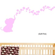 DecaltheWalls Elephant Bubbles Nursery Room Removable Wall Decal; Pink