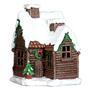 Exhart 12'' Holiday Log Cabin with Automatic Timer