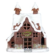 Exhart 12.5'' Holiday Log Cabin with Automatic Timer