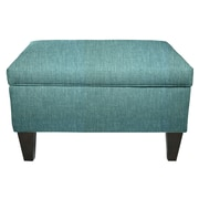 MJLFurniture Key Largo Legged Box Storage Ottoman; Teal