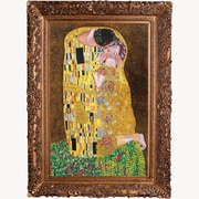 La Pastiche 'The Kiss full view Metallic Embellished' by Gustav Klimt Framed Painting Print