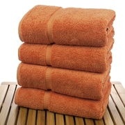 Bare Cotton Luxury Hotel and Spa Towel 100pct Turkish Cotton Bath Towel (Set of 4); Coral