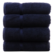 Bare Cotton Luxury Hotel and Spa Towel 100pct Turkish Cotton Bath Towel (Set of 4); Navy Blue
