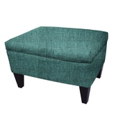 MJLFurniture Olivia Legged Box Storage Ottoman; Teal