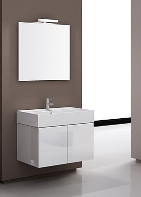 Iotti by Nameeks Smile 32'' Single Wall Mount Bathroom Vanity Set with Mirror; Glossy White