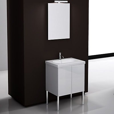 Iotti by Nameeks Trendy 24'' Single Footed Bathroom Vanity Set with Mirror; Glossy White