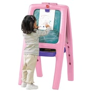 Step2 Marker Tray Folding Magnetic Board Easel; Pink