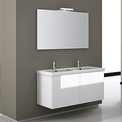 Iotti by Nameeks Space 47'' Double Wall Mount Bathroom Vanity Set with Mirror; Glossy White