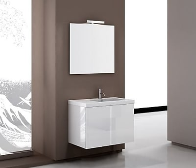 Iotti by Nameeks Space 32'' Single Footed Bathroom Vanity Set with Mirror; Glossy White