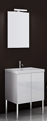 Iotti by Nameeks Space 24'' Single Bathroom Vanity Set with Mirror; Glossy White