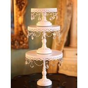 Opulent Treasures 3 Piece Chandelier Cake Plate Stand Set; White