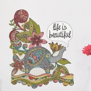 My Wonderful Walls Floral Elephant Life Is Beautiful Wall Decal; Small