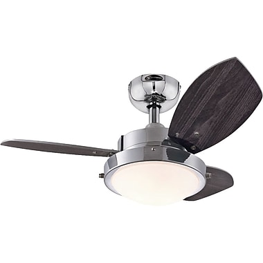 Westinghouse Lighting 30'' Wengue 3 Blade Ceiling Fan; Chrome with Wengue/Beech Blades