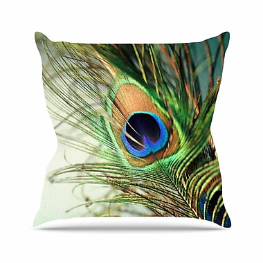 KESS InHouse Peacock Feather Throw Pillow; 20'' H x 20'' W