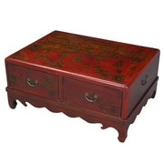 EXP D cor Handmade Oriental Antique Style Red Bonded Leather Mandarin Coffee Table