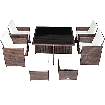 Aosom Outsunny 9 Piece Outdoor PE Rattan Wicker Nesting Patio Table Dining Table Set