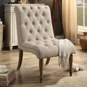 iNSTANT HOME Iris Tufted Upholstered Slipper Chair; Rose