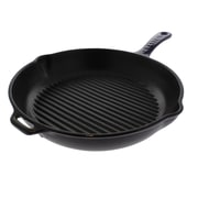 Chasseur Chasseur 10-inch Round French Enameled Cast Iron Grill Pan; Blue