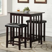 Roundhill Furniture 3 Piece Counter Height Pub Table Set; Espresso