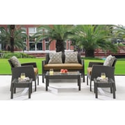 Hanover Chelsea 6 Piece Space-Saving Patio Set with Cushion; Country Cork