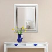 MCSIndustries White Brushed Steel Beveled Wall Mirror