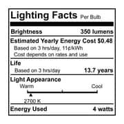 Bulbrite LED B11 4W Dimmable 2700K Warm White 280D 2PK (776556)