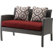 Hanover Chelsea 6 Piece Space-Saving Patio Set with Cushion; Crimson Red