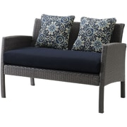 Hanover Chelsea 6 Piece Space-Saving Patio Set with Cushion; Navy Blue
