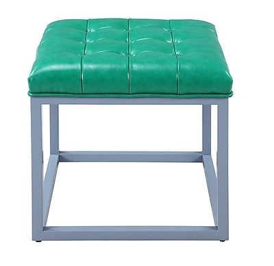 Iconic Home Newman Ottoman; Green WYF078279012056