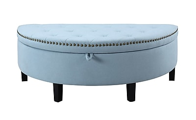 Iconic Home Jacqueline Button Tufted Half Moon w/ Gold Nailhead Trim Storage Ottoman; Blue WYF078279012060