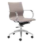 Zuo Modern Glider Low Back Office Chair Taupe (WC100376)