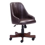 Zuo Maximus Fabric Bankers Office Chair, Fixed Arms, Brown (WC206082)