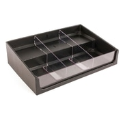 FFR Merchandising Shelf Organizer With Step, 24 inch W x 14 inch D x 6 inch H, 2 Dividers, (9924211378)