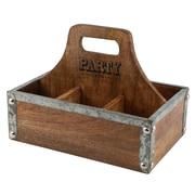 Thirstystone Luxe 6-Section Mango Wood Party Caddy Divided Serving Dish