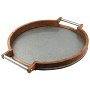 Thirstystone Luxe Mango Wood and Galvanized Iron Serving Tray