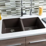 Hahn 32'' x 19'' Granite Extra Large Double Bowl Kitchen Sink; Brown