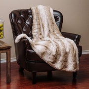 Chanasya Super Soft Cozy Waivy Leafe Pattern Beige Brown Fuzzy Fur Warm Throw Blanket