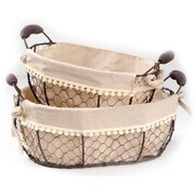 Blossom Bucket 2 Piece Oval Fabric Wire Basket w/ Handles Set (Set of 2)